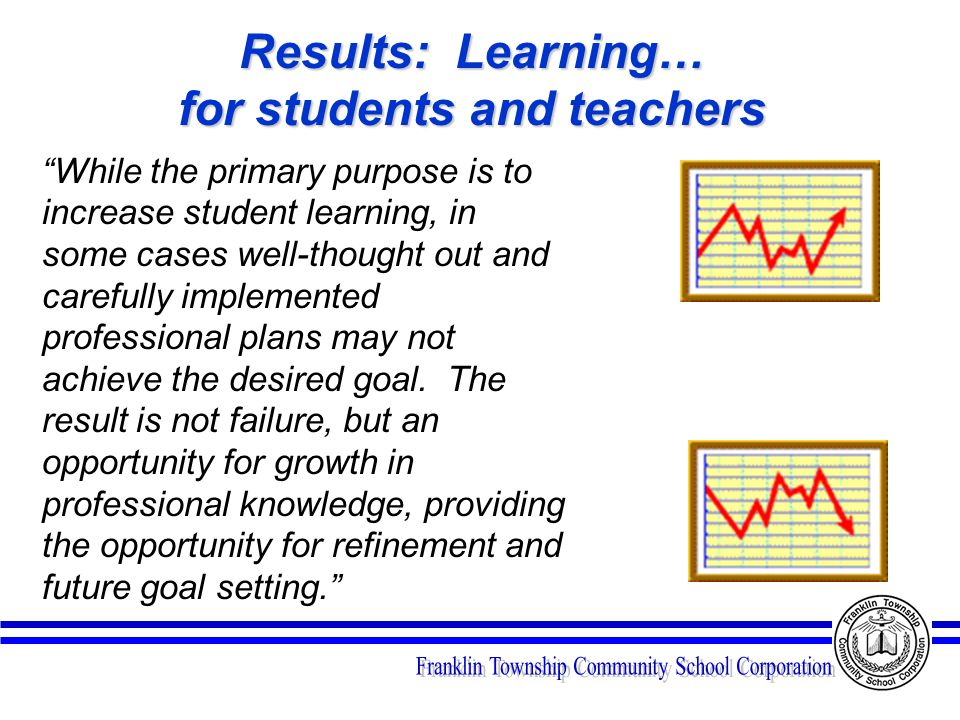 Results: Learning… for students and teachers While the primary purpose is to increase student learning, in some cases well-thought out and carefully implemented professional plans may not achieve the desired goal.