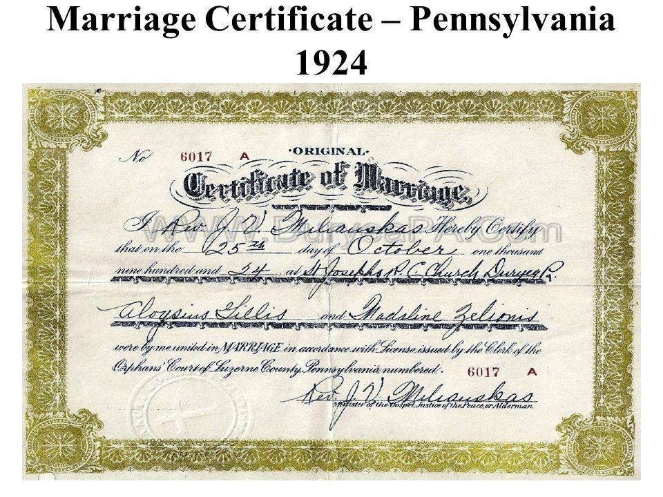 Marriage Certificate – Pennsylvania 1924