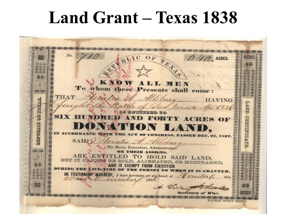 Land Grant – Texas 1838