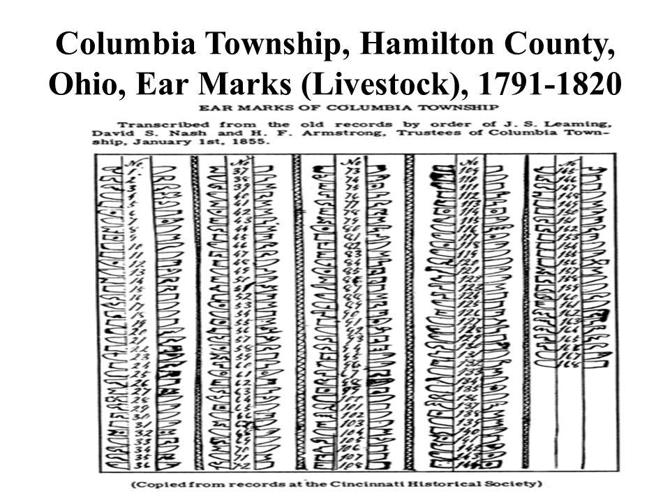 Columbia Township, Hamilton County, Ohio, Ear Marks (Livestock), 1791-1820