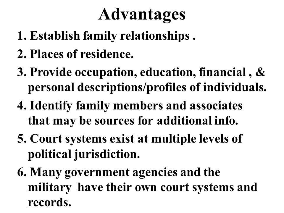 Advantages 1. Establish family relationships. 2.