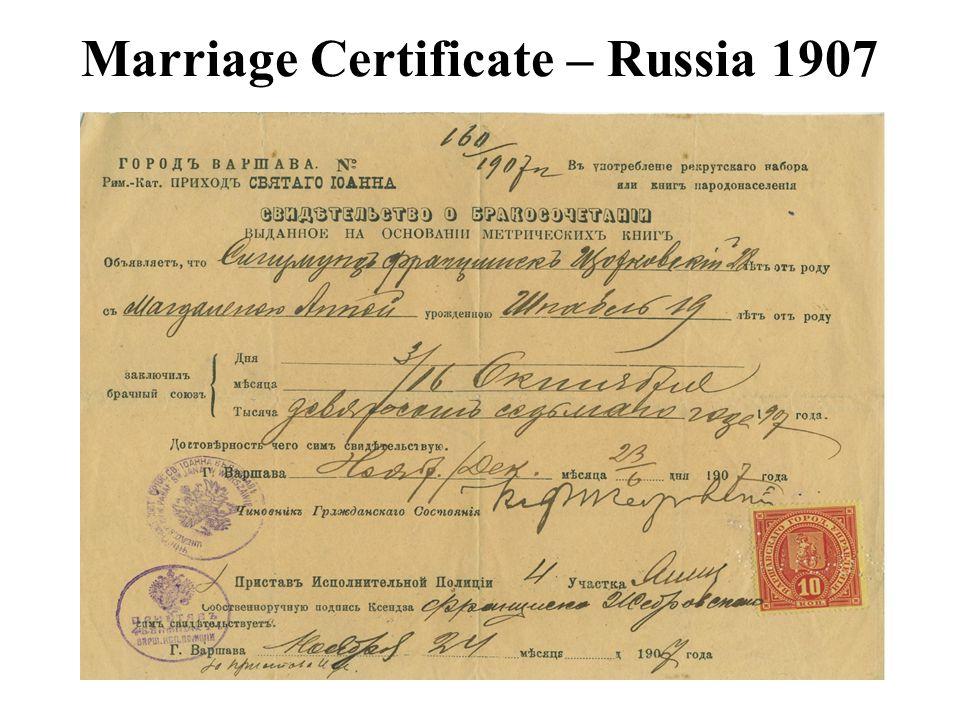 Marriage Certificate – Russia 1907