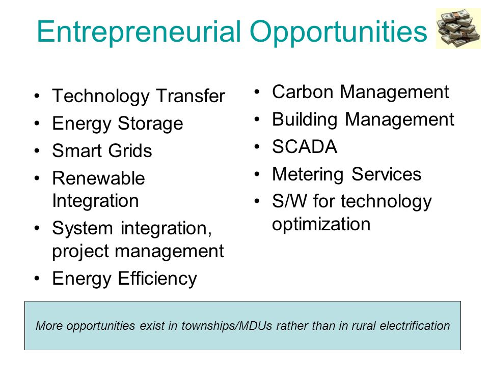 Entrepreneurial Opportunities Technology Transfer Energy Storage Smart Grids Renewable Integration System integration, project management Energy Efficiency Carbon Management Building Management SCADA Metering Services S/W for technology optimization More opportunities exist in townships/MDUs rather than in rural electrification