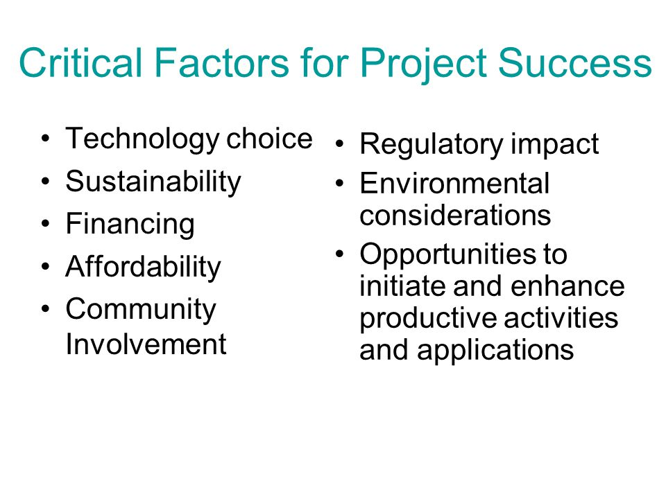 Critical Factors for Project Success Technology choice Sustainability Financing Affordability Community Involvement Regulatory impact Environmental considerations Opportunities to initiate and enhance productive activities and applications