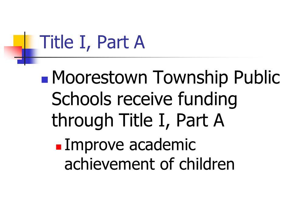 Title I, Part A Moorestown Township Public Schools receive funding through Title I, Part A Improve academic achievement of children