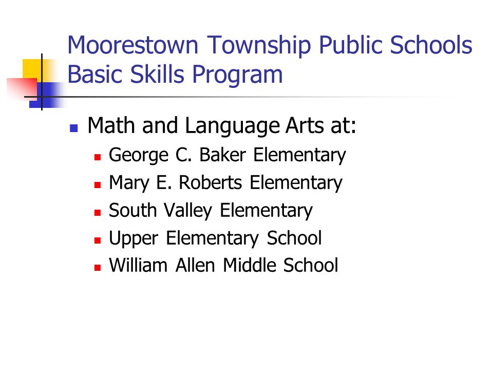 Moorestown Township Public Schools Basic Skills Program Criteria for selection Teacher Recommendations (based on classroom performance) Measurements of Academic Progress (MAP) Testing Previous scores on other assessments (DIBELS, running records and other student assessments) State Assessments: ASK 3 – 8 when applicable