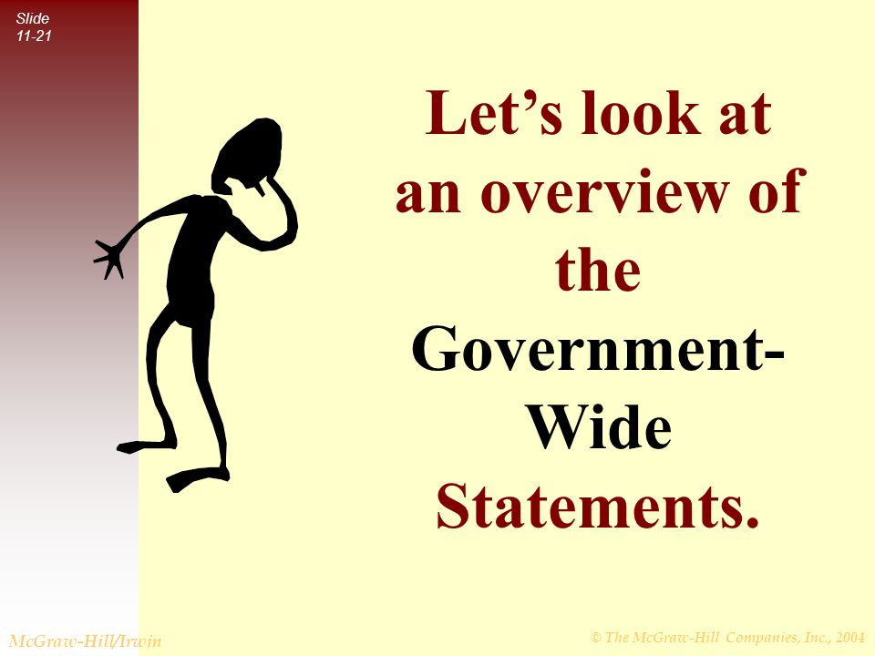 © The McGraw-Hill Companies, Inc., 2004 Slide 11-21 McGraw-Hill/Irwin Let's look at an overview of the Government- Wide Statements.
