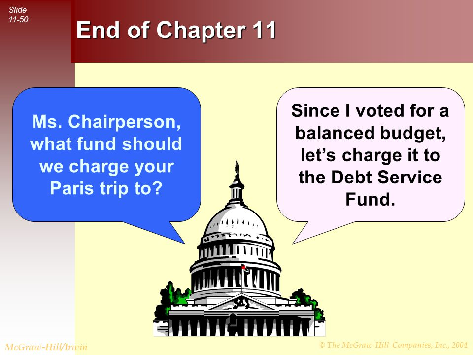 © The McGraw-Hill Companies, Inc., 2004 Slide 11-50 McGraw-Hill/Irwin Ms. Chairperson, what fund should we charge your Paris trip to? Since I voted fo