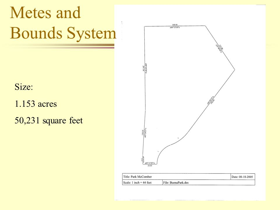9 Size: 1.153 acres 50,231 square feet Metes and Bounds System