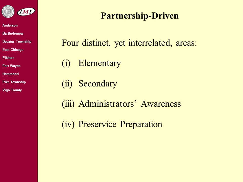 Anderson Bartholomew Decatur Township East Chicago Elkhart Fort Wayne Hammond Pike Township Vigo County Four distinct, yet interrelated, areas: (i)Elementary (ii)Secondary (iii)Administrators' Awareness (iv)Preservice Preparation Partnership-Driven