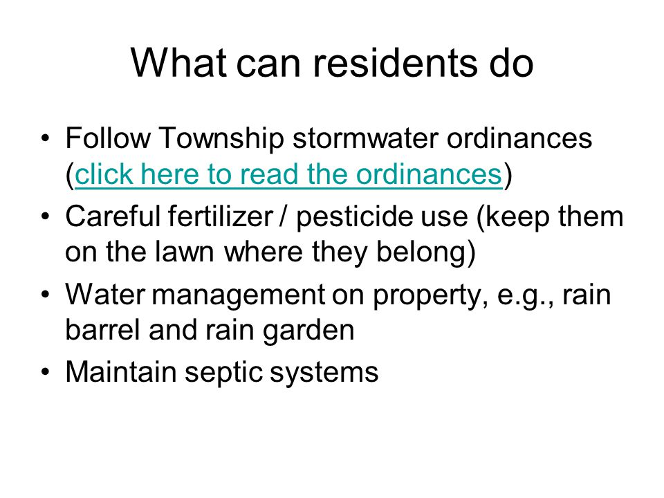 Ordinances related to minimizing stormwater pollution NJDEP Ordinance Category Township Ordinance in place Description Pet Waste Yes (click here to read ordinance)click here to read ordinance Signage, fines for improper waste disposal, education distributed with pet license.