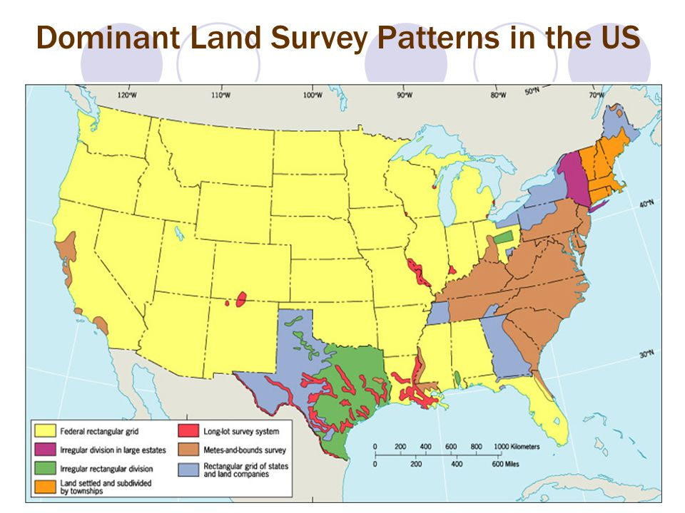 Dominant Land Survey Patterns in the US