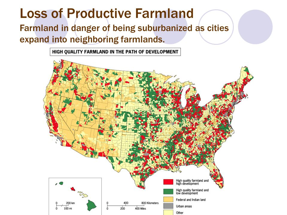 Loss of Productive Farmland Farmland in danger of being suburbanized as cities expand into neighboring farmlands.