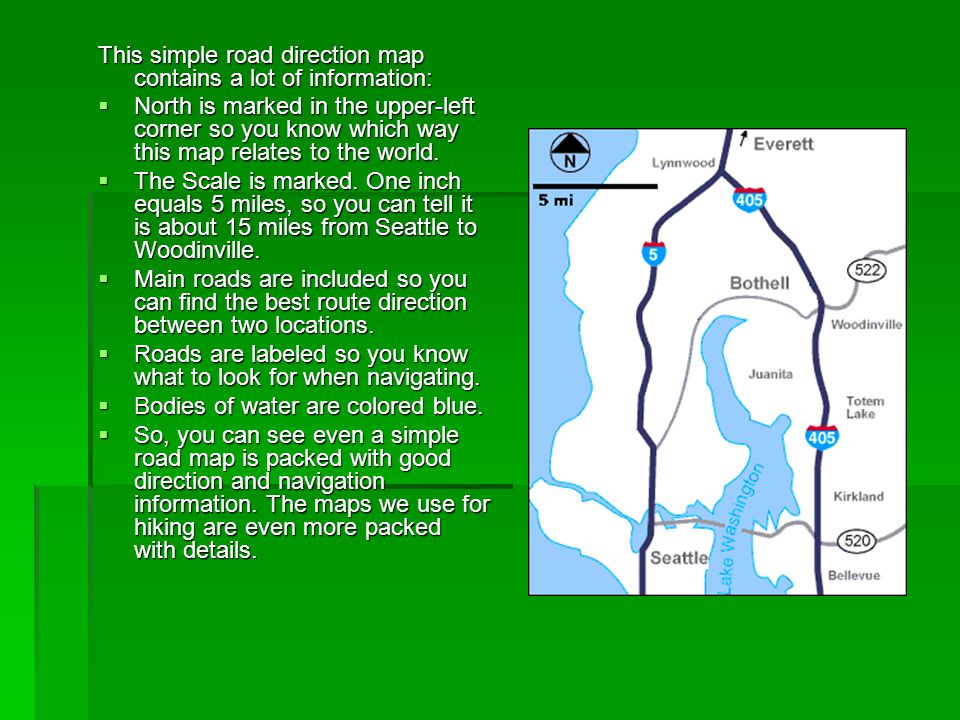 This simple road direction map contains a lot of information:  North is marked in the upper-left corner so you know which way this map relates to the