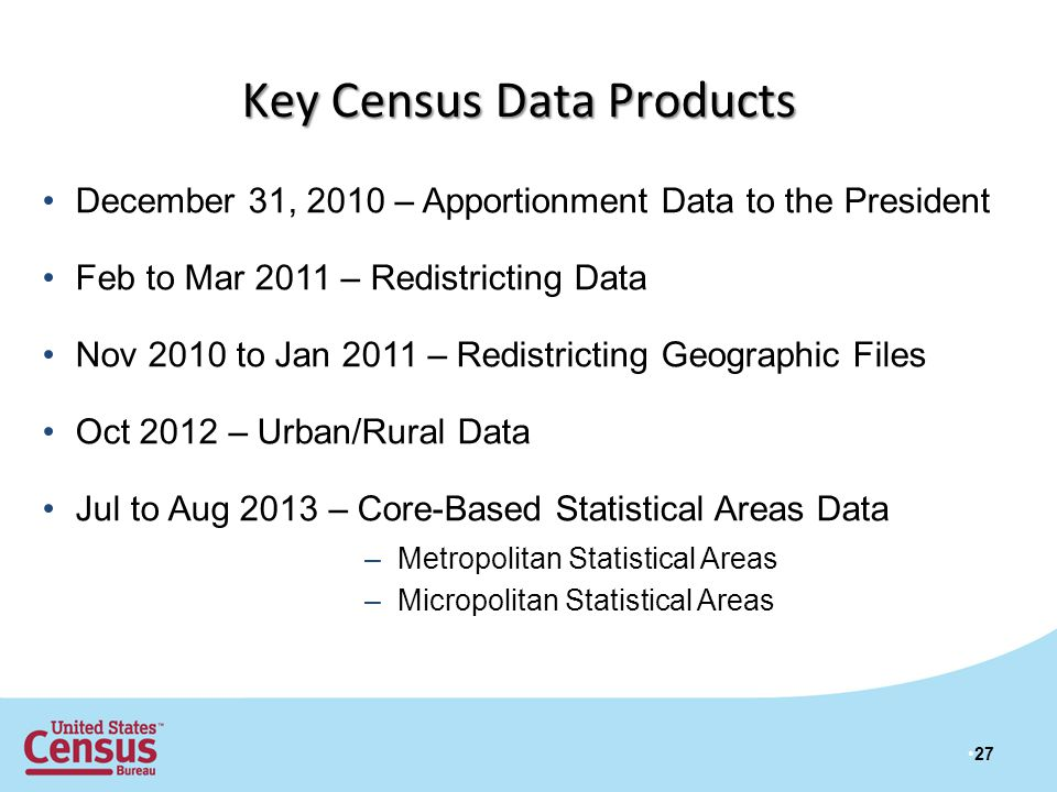 December 31, 2010 – Apportionment Data to the President Feb to Mar 2011 – Redistricting Data Nov 2010 to Jan 2011 – Redistricting Geographic Files Oct 2012 – Urban/Rural Data Jul to Aug 2013 – Core-Based Statistical Areas Data 27 Key Census Data Products –Metropolitan Statistical Areas –Micropolitan Statistical Areas