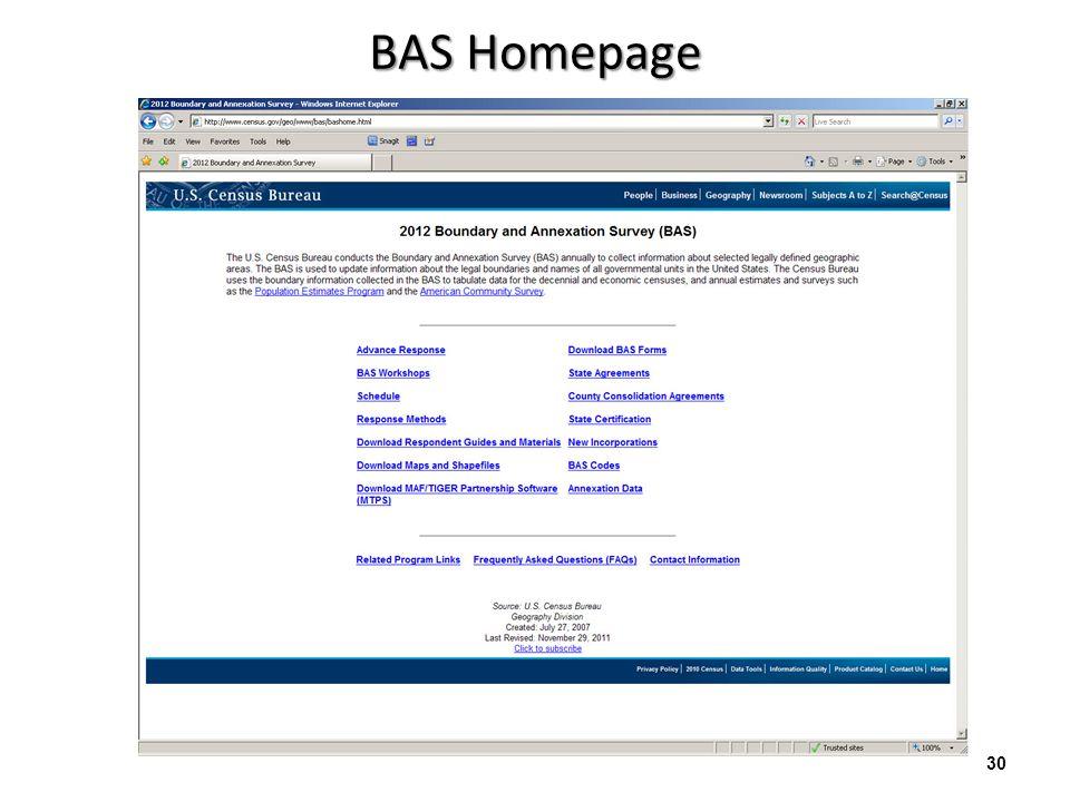 http://www.census.gov/geo/www/bas/bashome.html 30 BAS Homepage