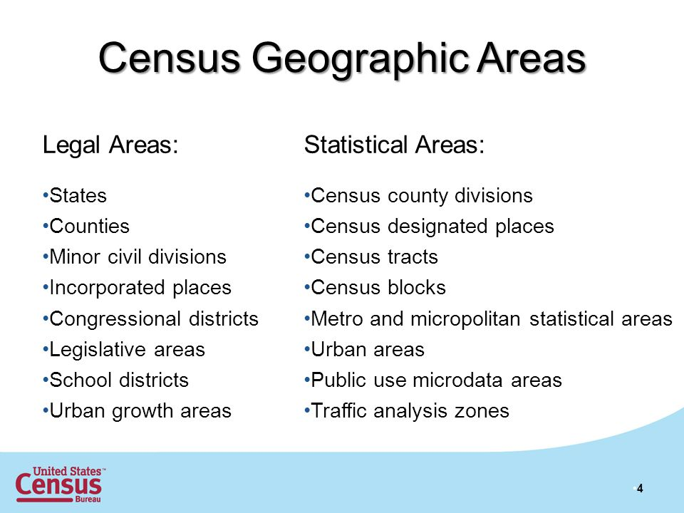 Census Geographic Areas Legal Areas: States Counties Minor civil divisions Incorporated places Congressional districts Legislative areas School districts Urban growth areas Statistical Areas: Census county divisions Census designated places Census tracts Census blocks Metro and micropolitan statistical areas Urban areas Public use microdata areas Traffic analysis zones 4
