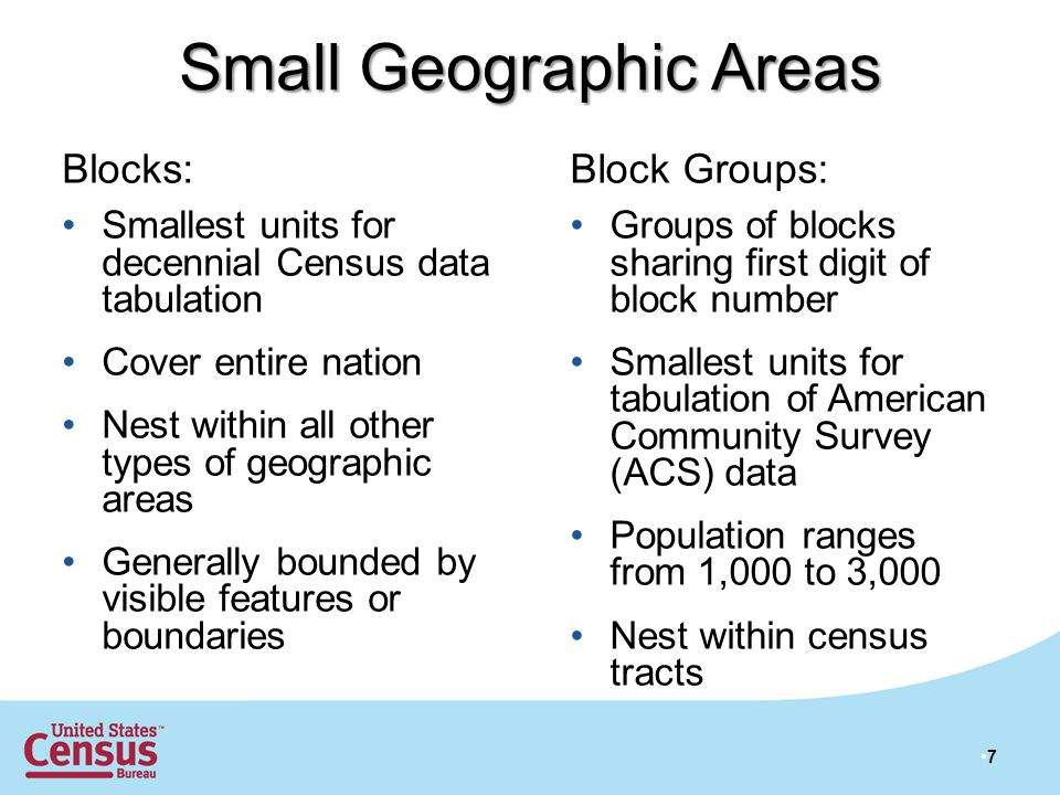 Small Geographic Areas Blocks: Smallest units for decennial Census data tabulation Cover entire nation Nest within all other types of geographic areas Generally bounded by visible features or boundaries Block Groups: Groups of blocks sharing first digit of block number Smallest units for tabulation of American Community Survey (ACS) data Population ranges from 1,000 to 3,000 Nest within census tracts 7