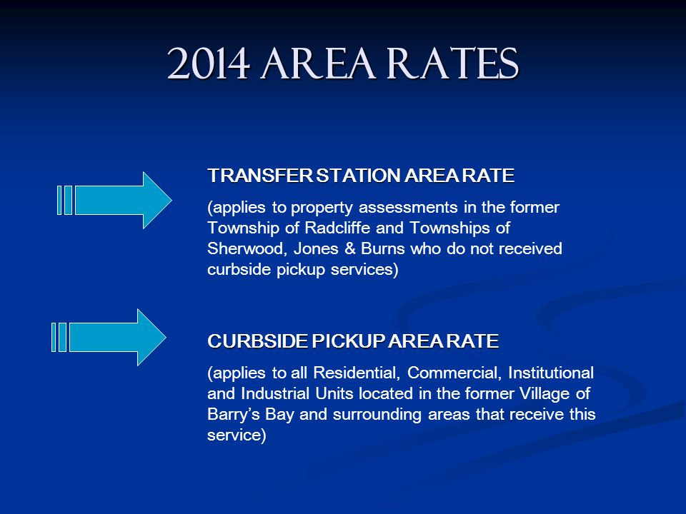 2014 AREA RATES TRANSFER STATION AREA RATE (applies to property assessments in the former Township of Radcliffe and Townships of Sherwood, Jones & Bur