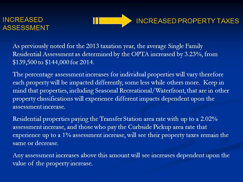 As previously noted for the 2013 taxation year, the average Single Family Residential Assessment as determined by the OPTA increased by 3.23%, from $1