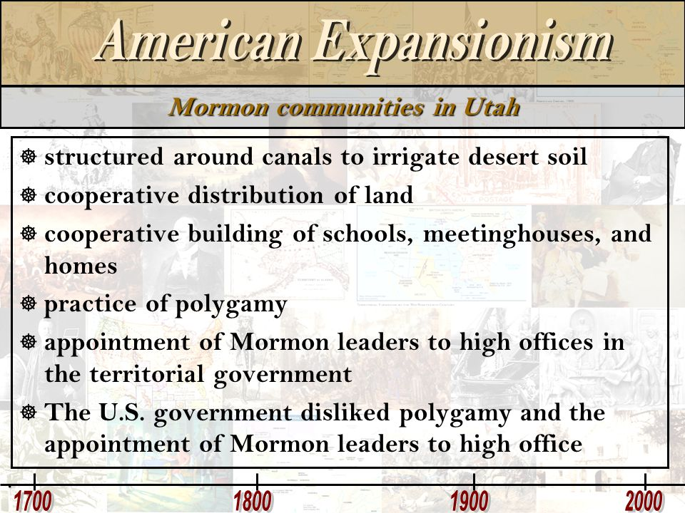 Mormon communities in Utah  structured around canals to irrigate desert soil  cooperative distribution of land  cooperative building of schools, me