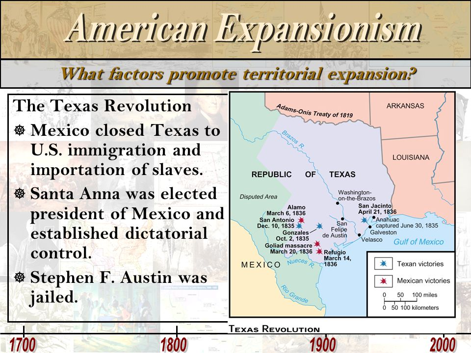 What factors promote territorial expansion? The Texas Revolution  Mexico closed Texas to U.S. immigration and importation of slaves.  Santa Anna was
