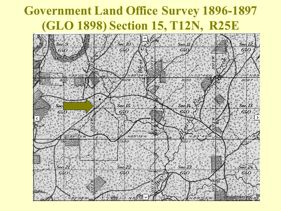 Government Land Office Survey 1896-1897 (GLO 1898) Section 15, T12N, R25E