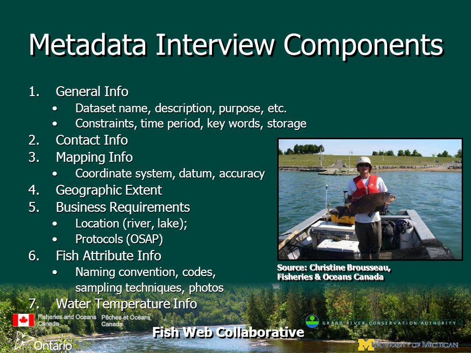 Fish Web Collaborative Metadata Interview Components 1.General Info Dataset name, description, purpose, etc. Constraints, time period, key words, stor