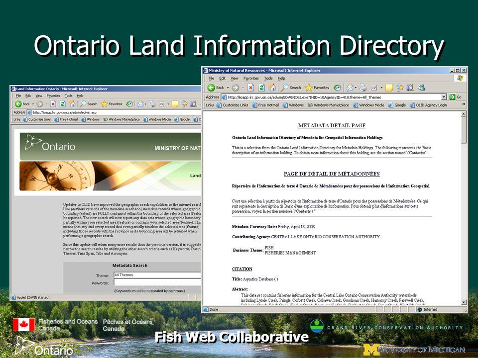 Fish Web Collaborative Ontario Land Information Directory