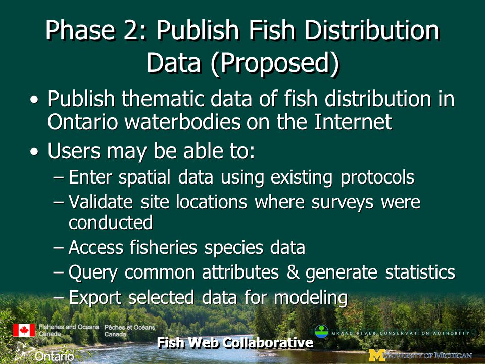 Fish Web Collaborative Phase 2: Publish Fish Distribution Data (Proposed) Publish thematic data of fish distribution in Ontario waterbodies on the Internet Users may be able to: –Enter spatial data using existing protocols –Validate site locations where surveys were conducted –Access fisheries species data –Query common attributes & generate statistics –Export selected data for modeling Publish thematic data of fish distribution in Ontario waterbodies on the Internet Users may be able to: –Enter spatial data using existing protocols –Validate site locations where surveys were conducted –Access fisheries species data –Query common attributes & generate statistics –Export selected data for modeling
