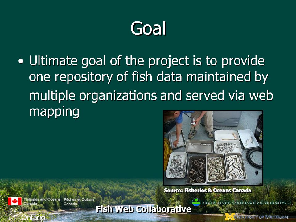 Fish Web Collaborative Goal Ultimate goal of the project is to provide one repository of fish data maintained by multiple organizations and served via web mapping Ultimate goal of the project is to provide one repository of fish data maintained by multiple organizations and served via web mapping Source: Fisheries & Oceans Canada