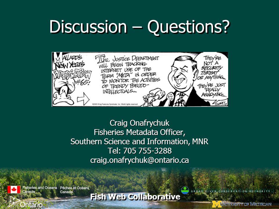 Fish Web Collaborative Discussion – Questions.