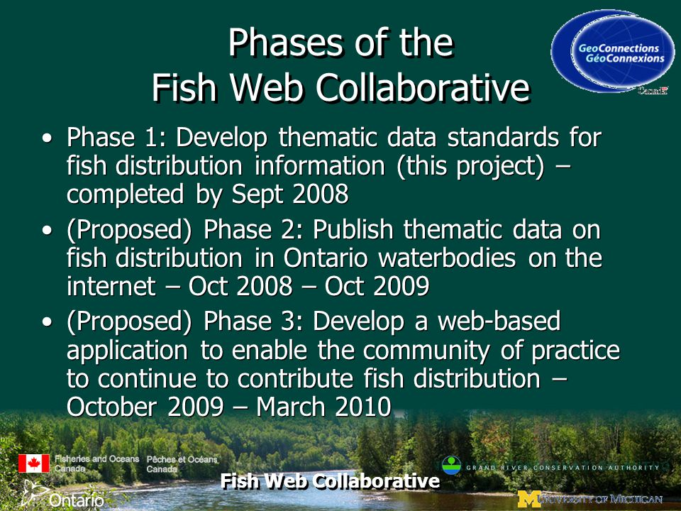 Fish Web Collaborative Phases of the Fish Web Collaborative Phase 1: Develop thematic data standards for fish distribution information (this project) – completed by Sept 2008 (Proposed) Phase 2: Publish thematic data on fish distribution in Ontario waterbodies on the internet – Oct 2008 – Oct 2009 (Proposed) Phase 3: Develop a web-based application to enable the community of practice to continue to contribute fish distribution – October 2009 – March 2010 Phase 1: Develop thematic data standards for fish distribution information (this project) – completed by Sept 2008 (Proposed) Phase 2: Publish thematic data on fish distribution in Ontario waterbodies on the internet – Oct 2008 – Oct 2009 (Proposed) Phase 3: Develop a web-based application to enable the community of practice to continue to contribute fish distribution – October 2009 – March 2010