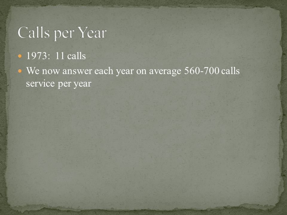 1973: 11 calls We now answer each year on average 560-700 calls service per year