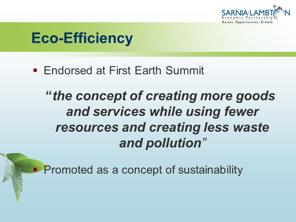 Eco-Efficiency  Endorsed at First Earth Summit the concept of creating more goods and services while using fewer resources and creating less waste and pollution  Promoted as a concept of sustainability