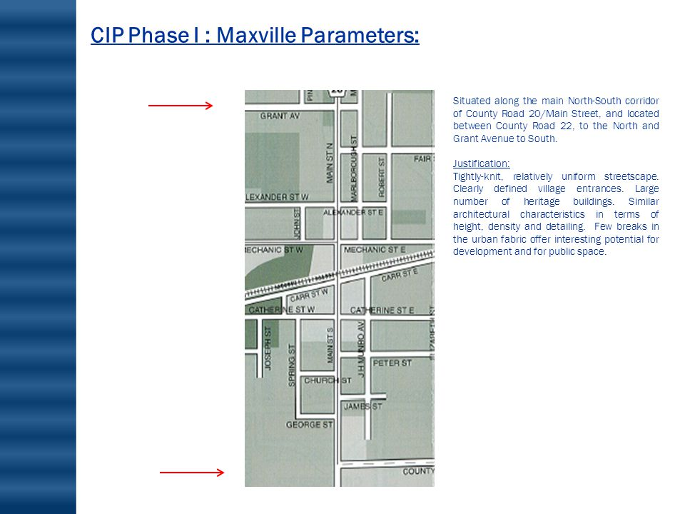 CIP Phase I : Maxville Parameters: Situated along the main North-South corridor of County Road 20/Main Street, and located between County Road 22, to the North and Grant Avenue to South.