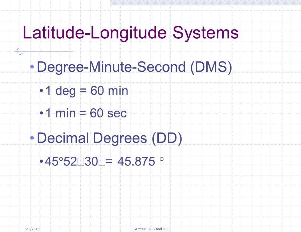 5/2/2015GLY560: GIS and RS Latitude-Longitude Systems Degree-Minute-Second (DMS) 1 deg = 60 min 1 min = 60 sec Decimal Degrees (DD) 45  5230  = 45.8