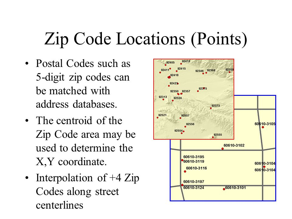 Zip Code Locations (Points) Postal Codes such as 5-digit zip codes can be matched with address databases.