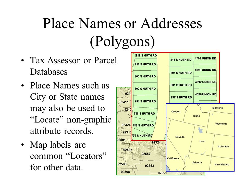 Place Names or Addresses (Polygons) Tax Assessor or Parcel Databases Place Names such as City or State names may also be used to Locate non-graphic attribute records.