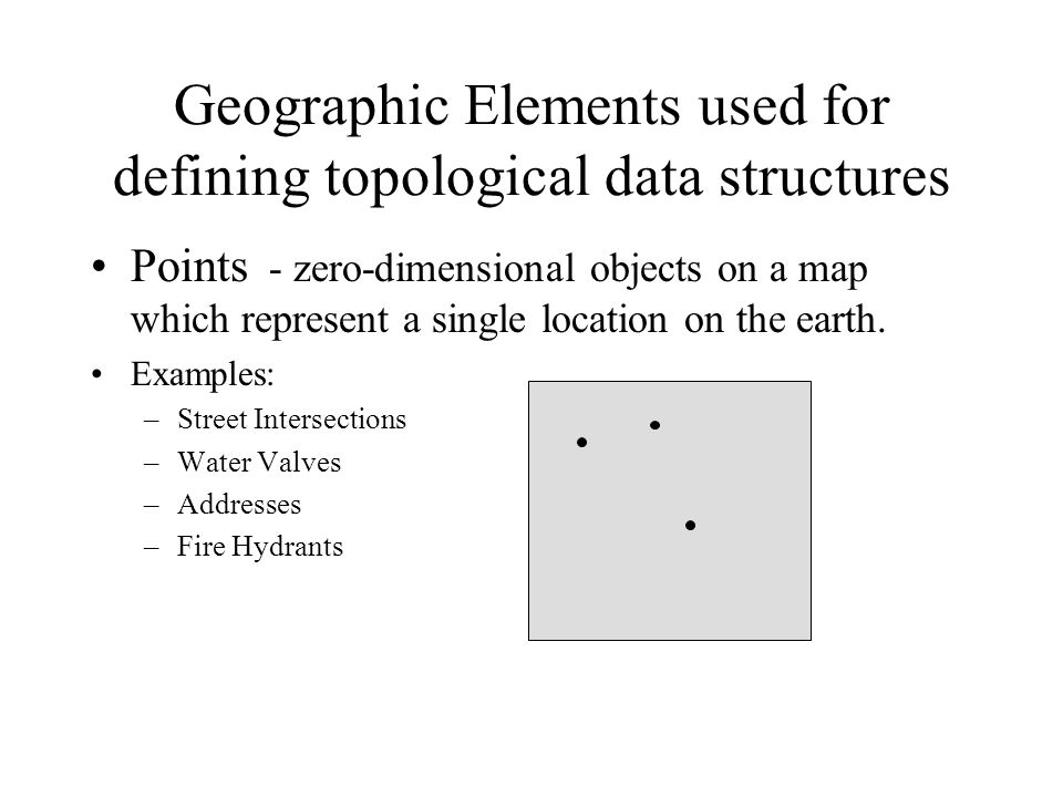 Geographic Elements used for defining topological data structures Points - zero-dimensional objects on a map which represent a single location on the earth.