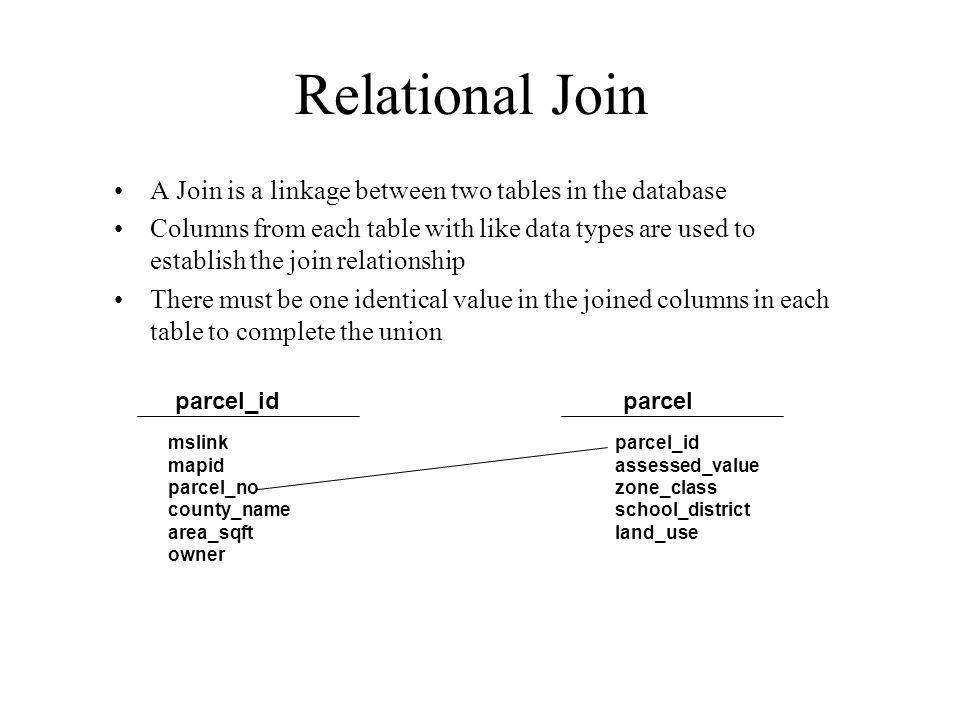 Relational Join A Join is a linkage between two tables in the database Columns from each table with like data types are used to establish the join relationship There must be one identical value in the joined columns in each table to complete the union parcel_idparcel mslink mapid parcel_no county_name area_sqft owner parcel_id assessed_value zone_class school_district land_use