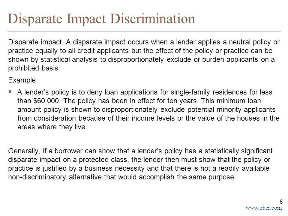 www.ober.com Disparate Impact Discrimination Disparate impact.