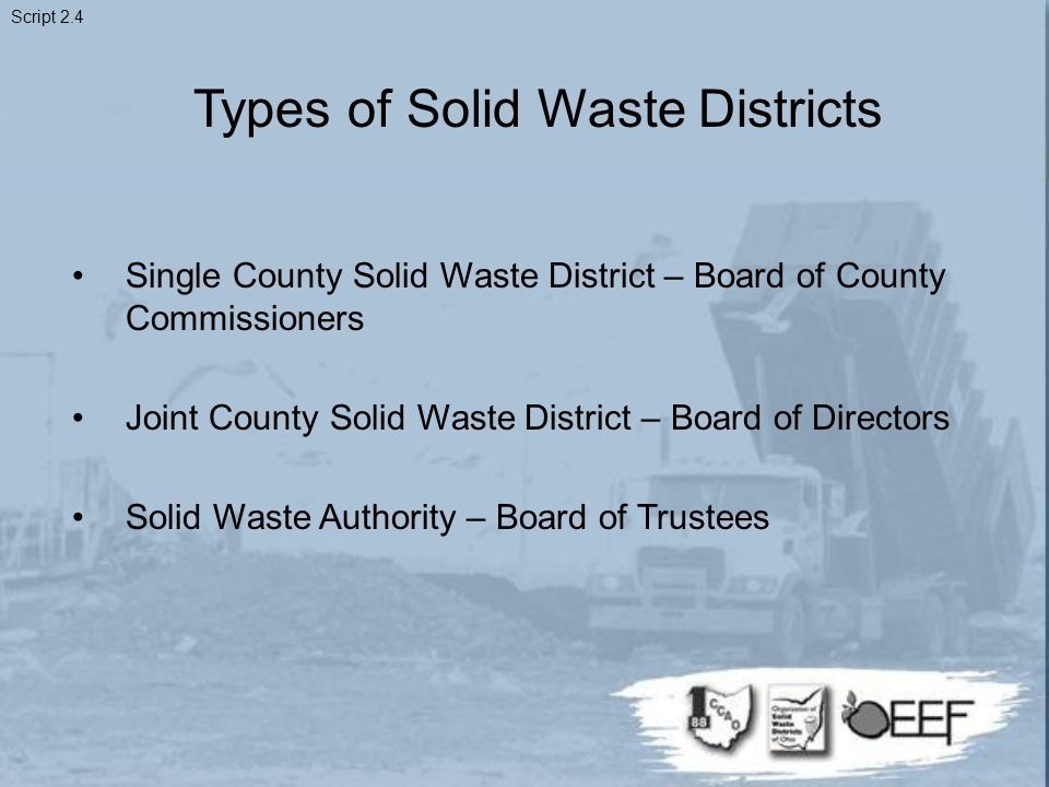 Types of Solid Waste Districts Single County Solid Waste District – Board of County Commissioners Joint County Solid Waste District – Board of Directors Solid Waste Authority – Board of Trustees Script 2.4