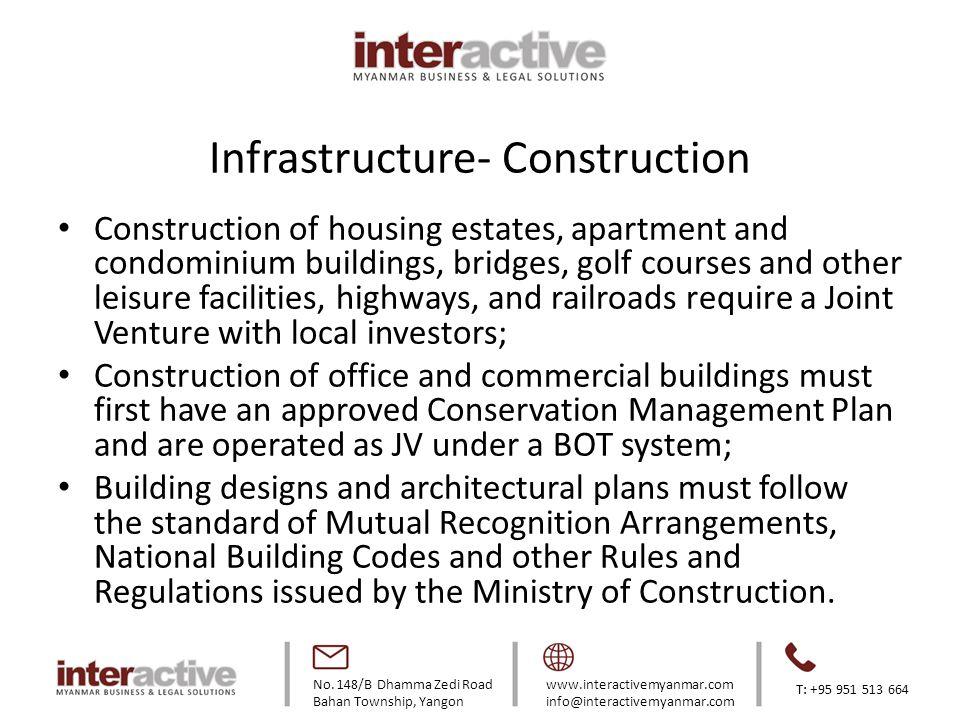 No. 148/B Dhamma Zedi Road Bahan Township, Yangon www.interactivemyanmar.com info@interactivemyanmar.com T: +95 951 513 664 Infrastructure- Constructi