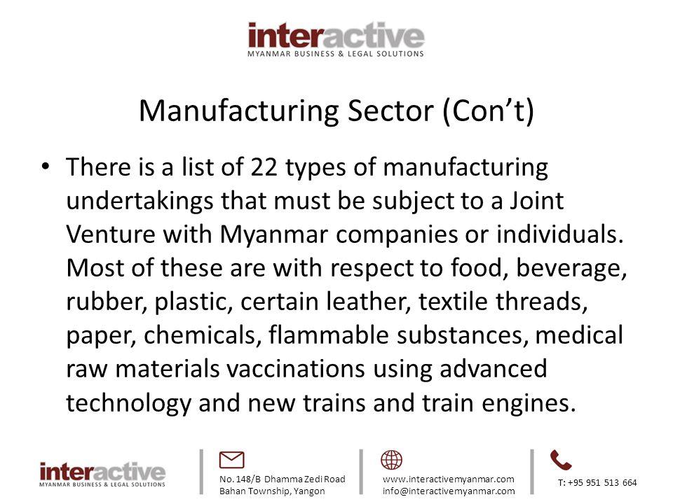 No. 148/B Dhamma Zedi Road Bahan Township, Yangon www.interactivemyanmar.com info@interactivemyanmar.com T: +95 951 513 664 Manufacturing Sector (Con'