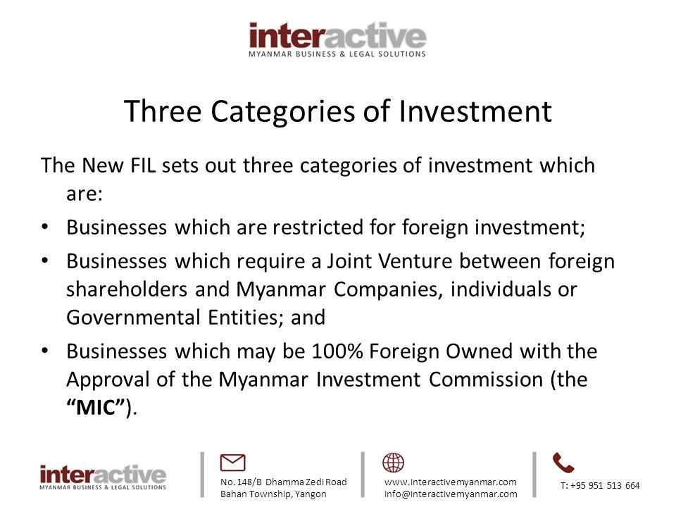No. 148/B Dhamma Zedi Road Bahan Township, Yangon www.interactivemyanmar.com info@interactivemyanmar.com T: +95 951 513 664 Three Categories of Invest