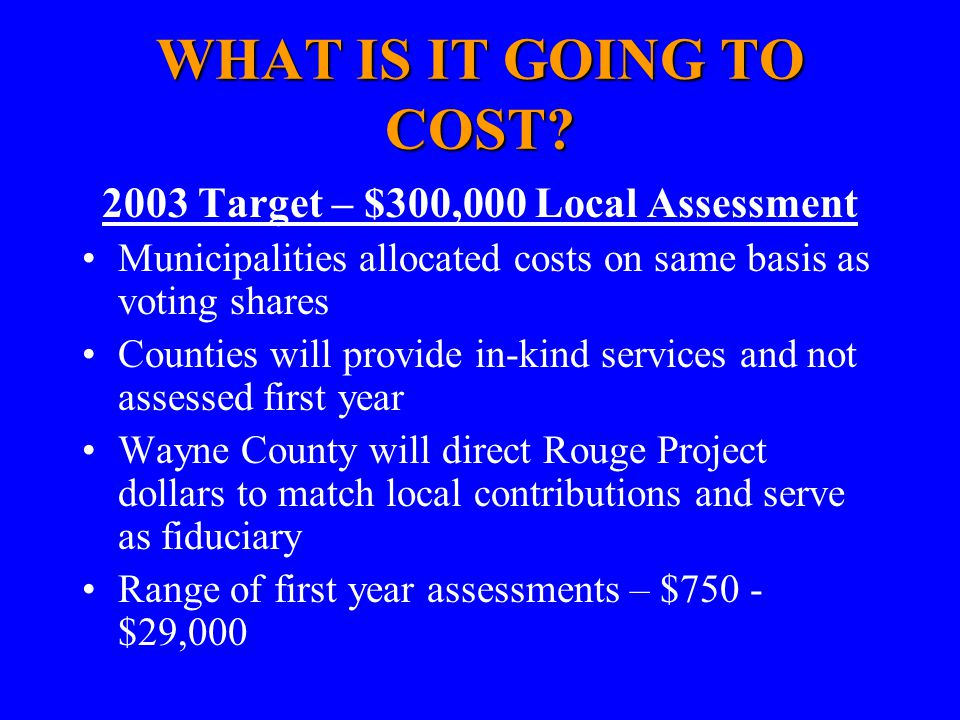 WHAT IS IT GOING TO COST? 2003 Target – $300,000 Local Assessment Municipalities allocated costs on same basis as voting shares Counties will provide