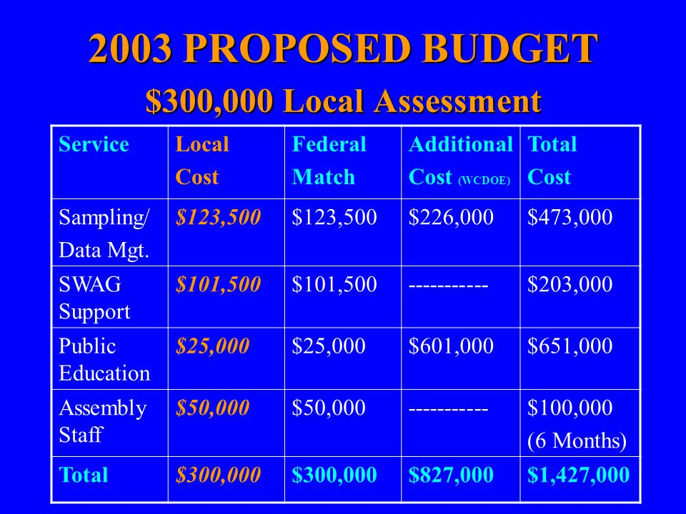 2003 PROPOSED BUDGET $300,000 Local Assessment ServiceLocal Cost Federal Match Additional Cost (WCDOE) Total Cost Sampling/ Data Mgt. $123,500 $226,00