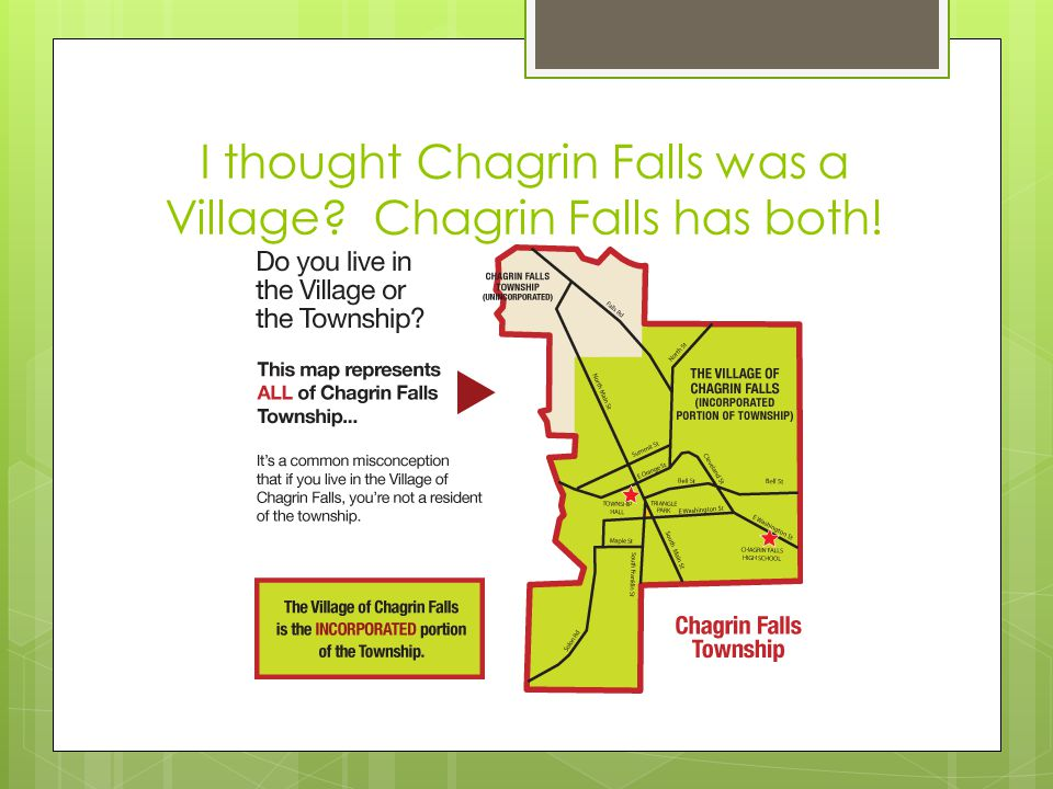 I thought Chagrin Falls was a Village Chagrin Falls has both!