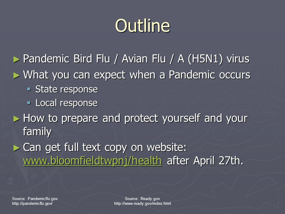Source: Pandemicflu.gov http://pandemicflu.gov/ Source: Ready.gov http://www.ready.gov/index.html Influenza A respiratory illness Symptoms  typical influenza-like symptoms (e.g.